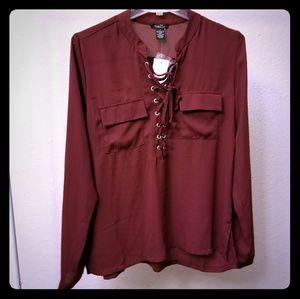 Rue21 Maroon Tie/Lace up Front Blouse